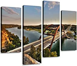Canvas Wall Art Painting Pictures Austin, Texas 360 Bridge Modern Artwork Framed Posters for Living Room Ready to Hang Home Decor 4PANEL