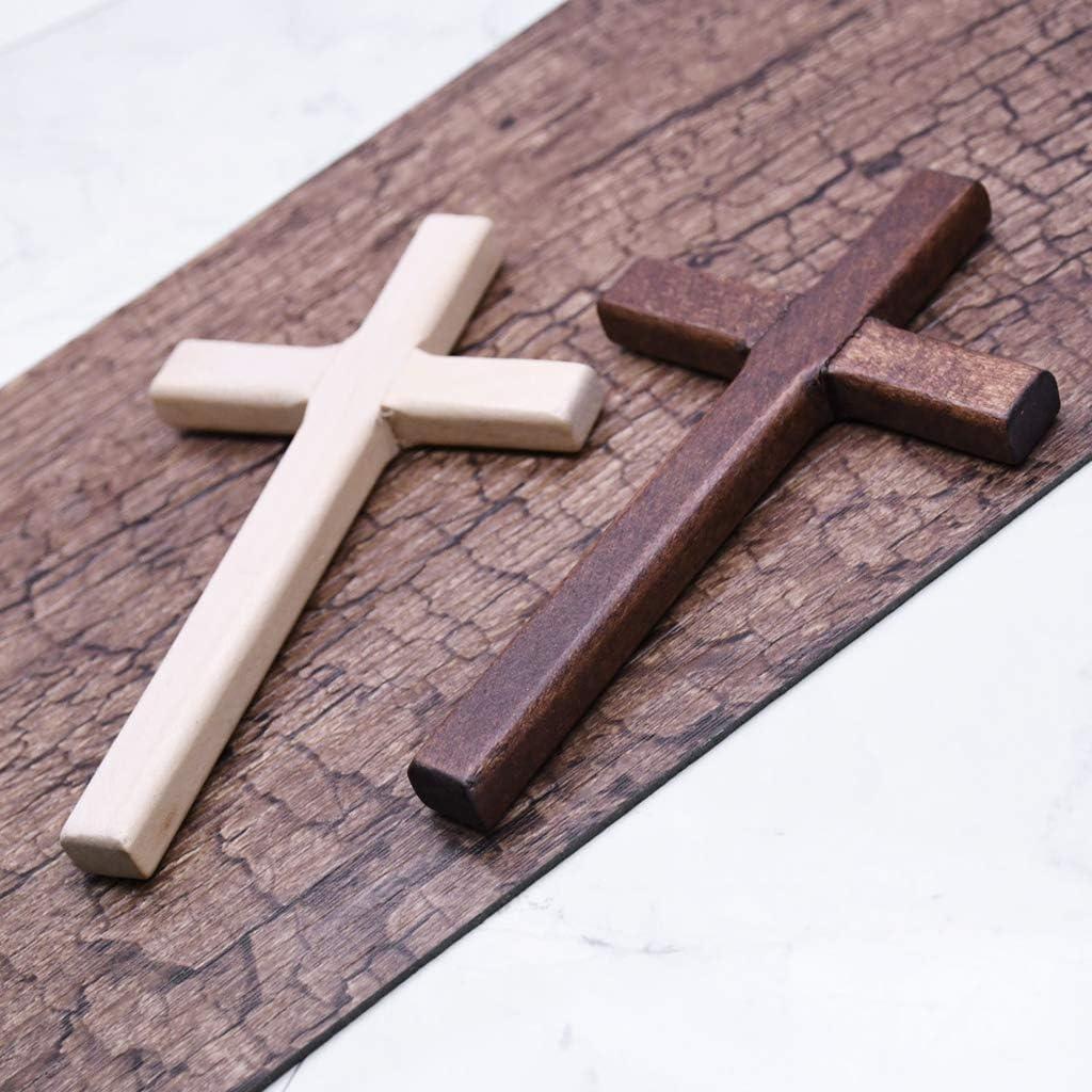 2 VIccoo 2 pi/èces /à la Main Croix en Bois Crucifix j/ésus Christ Ornements Pendentif Religieux