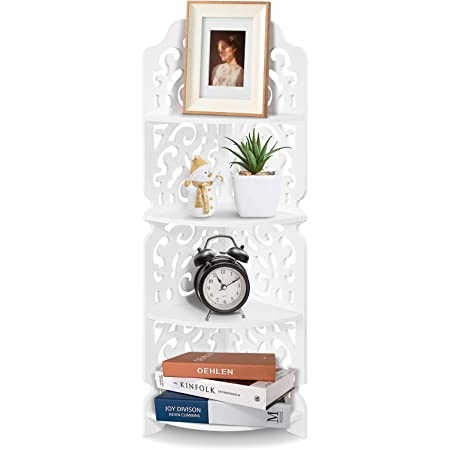 Carved Corner Display Shelf Damp-proof Wall Corner Shelf Unit Bookcase Display Stand Storage Organiser WPC Board for Living Room Kitchen White Carved Corner Shelves 4 Tier Corner Shelf Unit