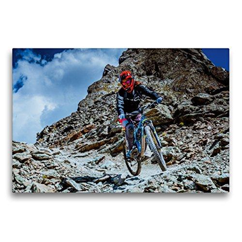 CALVENDO Premium Textil-Leinwand 75 x 50 cm Quer-Format Auch Frauen können Downhill, Leinwanddruck von Dirk Meutzner