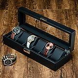 Caja de Reloj de Fibra de Carbono de 6 Ranuras para Hombres, Organizador de Caja de Reloj de Lujo Moderno con Cerradura, Almacenamiento de Pantalla de Vidrio, Almohada de Cuero Negro