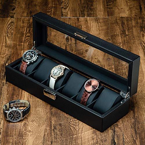 XXCHUIJU Caja de Reloj de Fibra de Carbono de 6 tragamonedas para Hombre, Moderno Reloj de Reloj de Lujo Organizador con Cerradura, Almacenamiento de Pantalla de Vidrio, Almohada de Cuero Negro