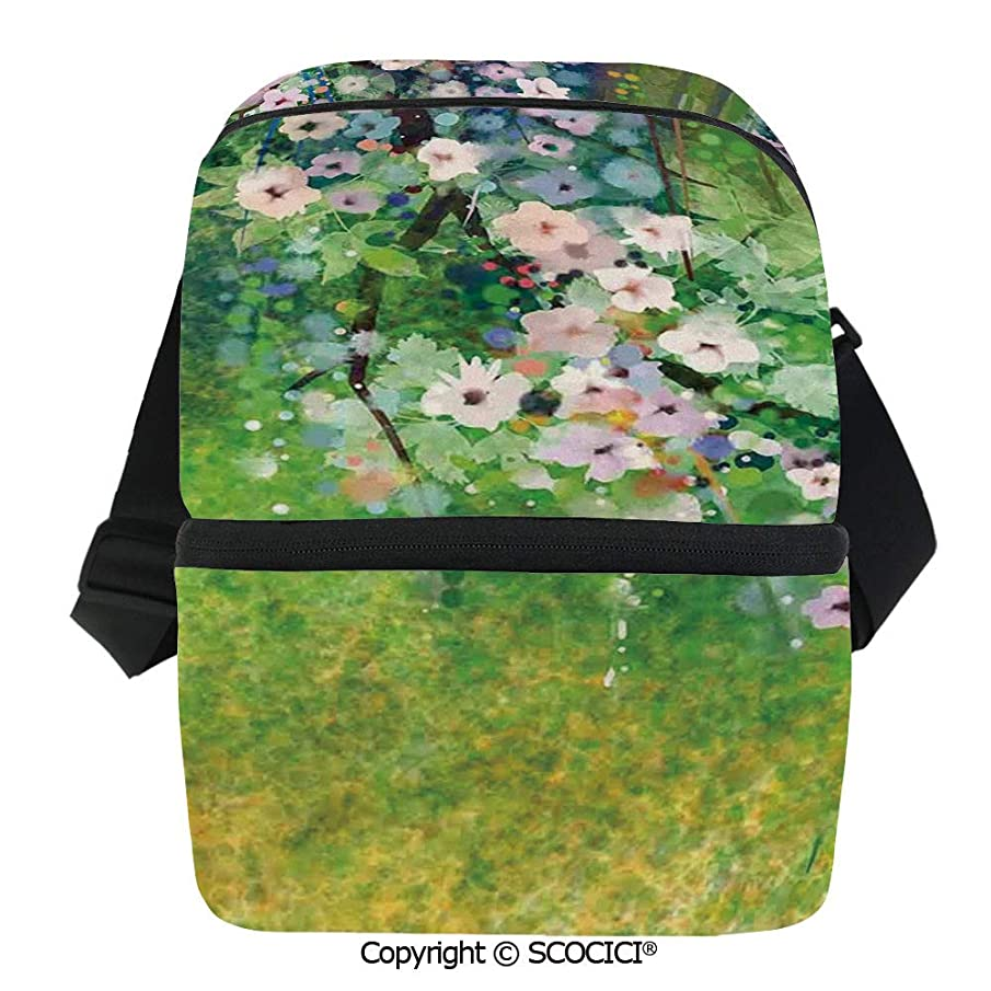 SCOCICI Insulated Lunch Cooler Bag Traditional Japanese Cherry Blossom Sakura Tree Petals Grass Land Paint Reusable Lunch for Men Women Heat Insulation,Heat Protection