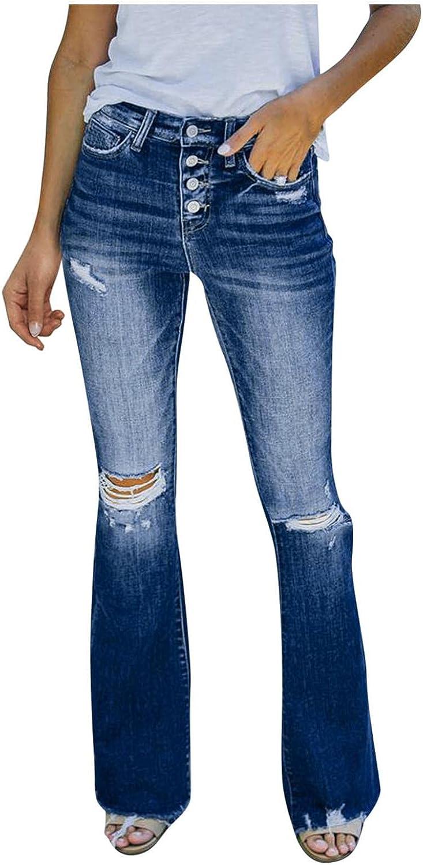 Dunacifa Jeans for Women High Waisted Stretch Ripped Wide Leg Butt Lifting Boyfriends Jean Distressed Frayed Hem Denim