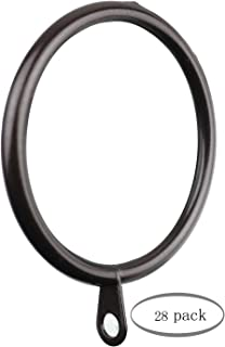 MERIVILLE 28 pcs Oil-Rubbed Bronze 2-Inch Inner Diameter Metal Curtain Rings with Eyelets
