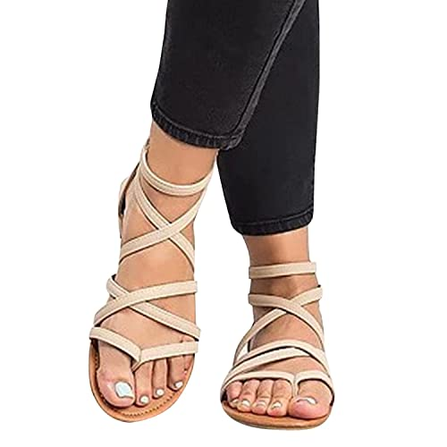 0352d80cf2d1 Womens Gladiator Strappy Flat Thong Criss Cross Ankle Wrap Summer Beach  Sandals