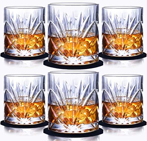 Juego de 6 Vasos de Whisky-sin Plomo Vasos de cristal Whiskey Set Transparente Drinking Cup300ml con Posavasos y caja de lujo