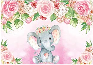 Funnytree 7x5ft Pink Floral Elephant Party Backdrop Flowers Girl Baby Shower Birthday Photography Background Photobooth Banner Cake Table Decorations