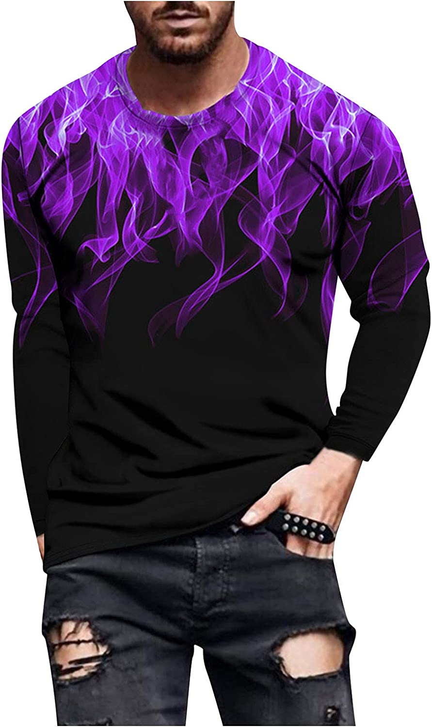 DZQUY Men's Long Sleeve Graphic T-Shirts Tie Dye Gradient Casual Slim Fit Workout Gym Muscle Shirts Tops