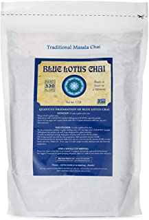 Blue Lotus Chai - Traditional Masala Chai - Makes 530 Cups - 1 Pound Bulk Bag Masala Spiced Chai Powder with Organic Spice...