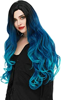 SEIKEA Blue Hair Wig with Root Long Wavy Curly Hair Cosplay Costume Color Ombre