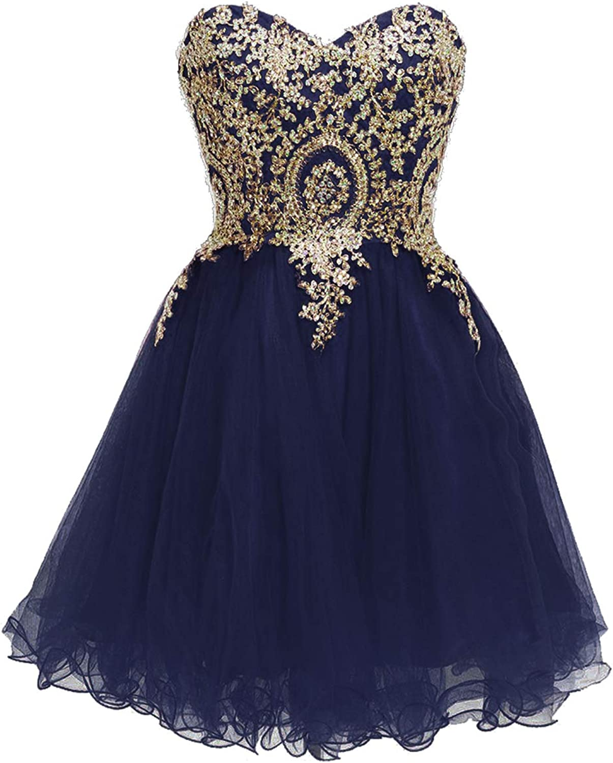 ModeC Prom Dresses Short Homecoming Dress Lace Applique Sparkly Party Cocktail Gown