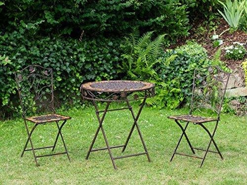 aubaho Mesa y 2 sillas de Hierro Forjado de Hierro Muebles de jardín de Piedra marrón