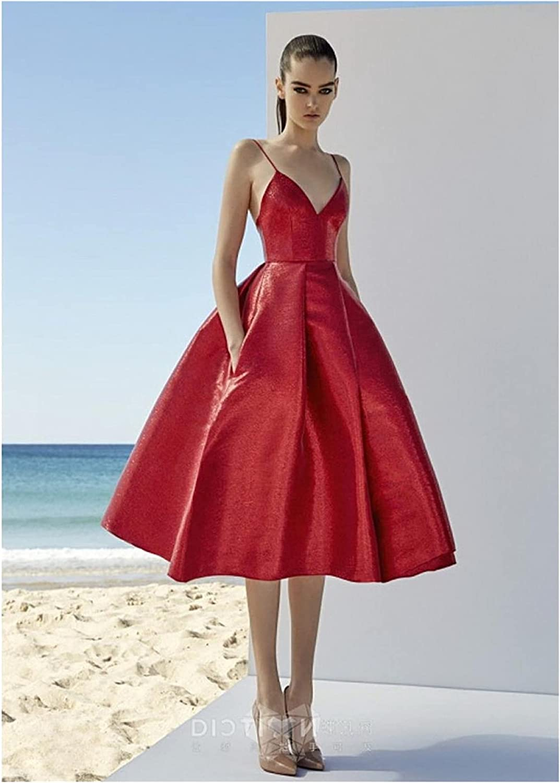 HAKAESR Women's Dresses Red Evening Max 40% OFF Dress Strappy Length N V Tea free shipping