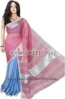 Half & Half Handmade Linen Silver Zari Border Saree Indian Sari Blouse Handloom by West Bengal Weavers 133a