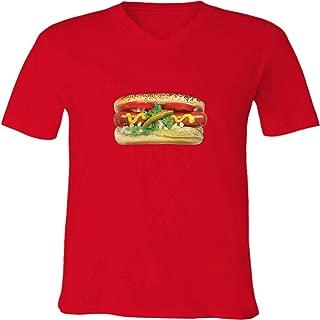 Hot Dog Sausage Food Unisex Mens Womens Vneck Tee T-Shirt