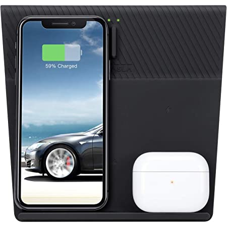 Farasla 4 Coils Wireless Charger for Tesla Model 3, Compatible with iPhone 12Pro/12/11 Samsung Enabled Phones and AirPods Pro/2, Galaxy Buds/Bud+/Buds Live Enabled Earbuds