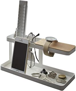 Metal Desktop Side Table Organizer with Wooden Wristwatch Bar, Remote Control Stand and a Catch-All Tray for Change and Ke...