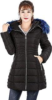 KENGURU COVE Women Down Jacket with Faux Fur Hoodie Thickened Slim Long