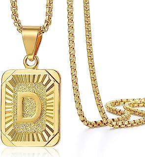 گردنبند آویز اولیه نامه Trendsmax مردانه زن نامه بزرگ سرمایه طلای زرد روکش طلا A Z جعبه جعبه فولاد ضد زنگ 22 اینچ