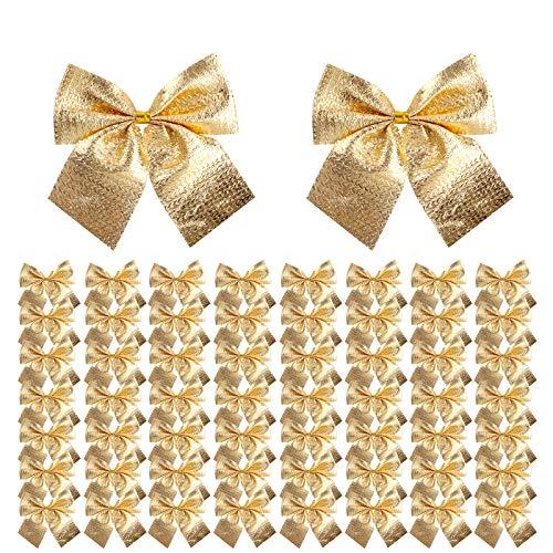 Frgasgds 120 Stück Weihnachten Schleifen Weihnachtsbaum Schleifen Weihnachten Band Schleifen Weihnachtsdeko für Weihnachtsbaum, Dekorationen, Geschenke, Kunst und Handwerk