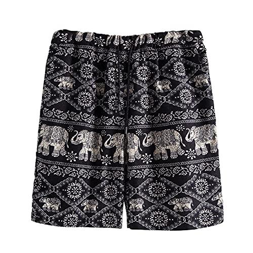Pantalones cortos para hombre, pantalones de playa, ajuste relajado, cintura elástica, para surf, caminar, correr, nadar, gris, 3XL