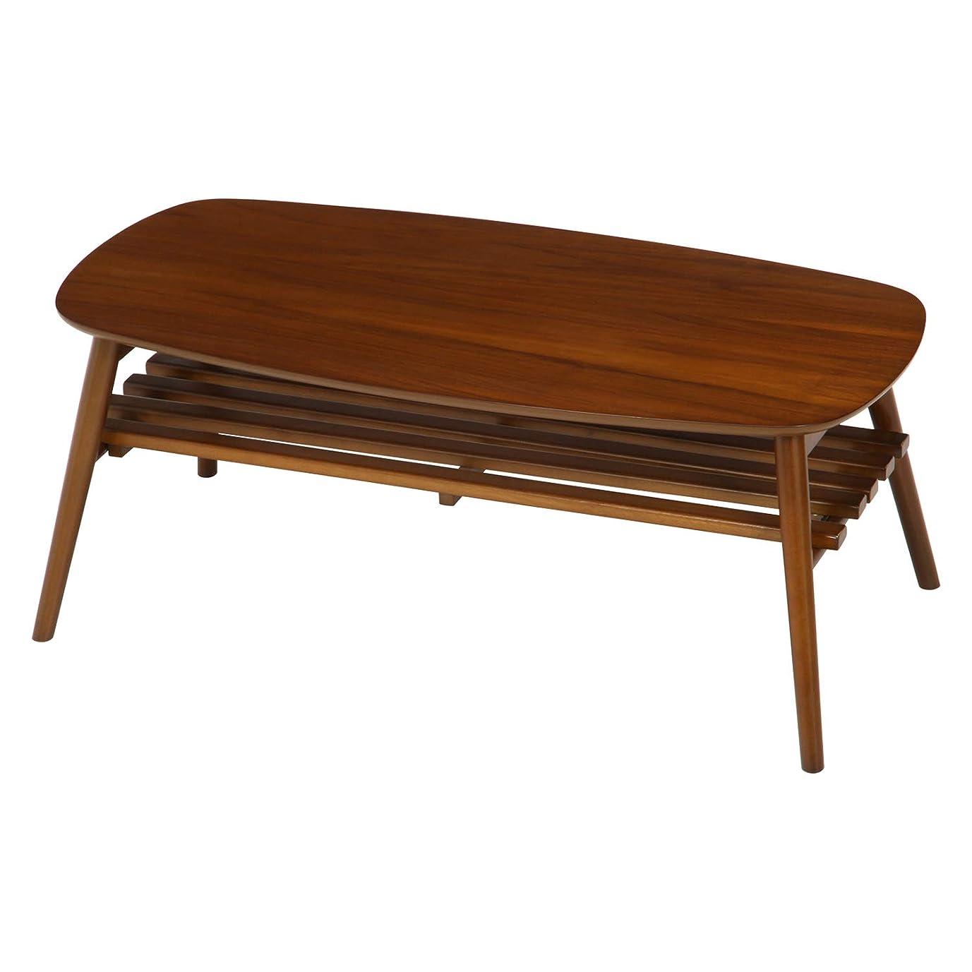 幹なんでも隔離する不二貿易 折りたたみ ローテーブル 幅100cm 棚付きミディアムブラウン 95780