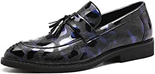 HaiNing Zheng Business Oxford for Men Walking Shoes Slip on PU Leather Pointed Toe Block Heel Vintage Retro Tassels Patent Lightweight Party (Color : Blue, Size : 9 UK)
