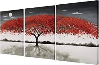 Gold Orange 100% Hand Painted Oil Paintings Hang Flower Landscape Red Tree Flower Modern Abstract Painting Canvas Living Room Bedroom Office Wall Art Home Decoration 12inchx16inchx3pcs