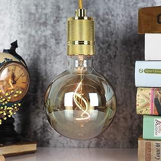 TIANFAN Bombilla Edison de gran globo LED de filamento ahumado G125 2W 220/240V E27 bombilla decorativa