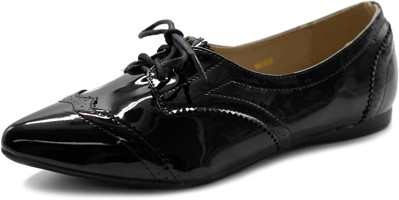 Ollio Women's Ballet shoes Flat Enamel Pointed Toe Oxford