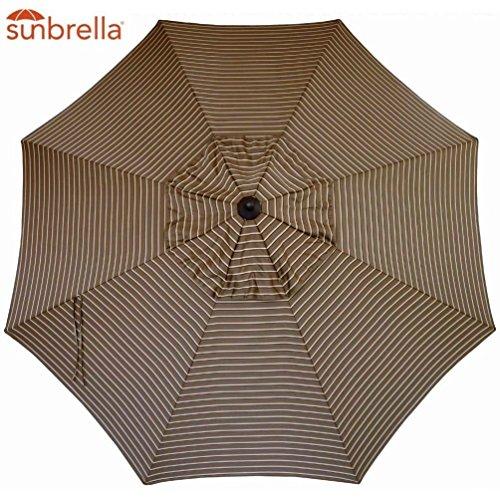 Bayside21 Sunbrella Fabric Umbrella Canopy Replacement 8 Ribs 9 ft Outdoor Patio Umbrella Sunbrella Replacement Umbrella Canopy Hardwood Stripe 9ft Market Umbrella Replacement Canopy 8 Ribs Non Faded