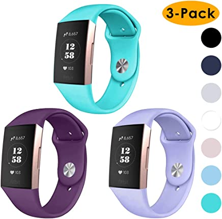 EZCO 3-Pack Bands Compatible with Fitbit Charge 3, Soft Silicone Waterproof Replacement Watch Strap Breathable Sport Wristband Accessories Man Woven Compatible Charge 3 / Charge 3 SE Smart Watch