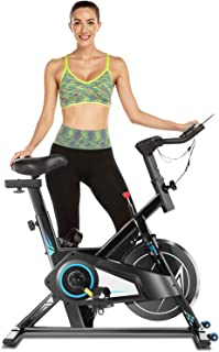 Exercise Spin Bike for Home Gym with 40lb Flywheel, Quiet & Smooth, Comfortable Stationary Spinning Bike for Cardio Workout, Indoor Cycling Bike with Adjustable Resistance & Seat, Tablet Holder
