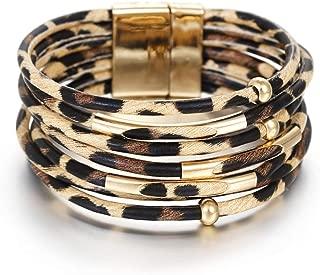 Leopard Leather Bracelets for Fashion Women Leather Bracelet & Bangles Elegant Multilayer Wrap Wide Bracelet Jewelry …
