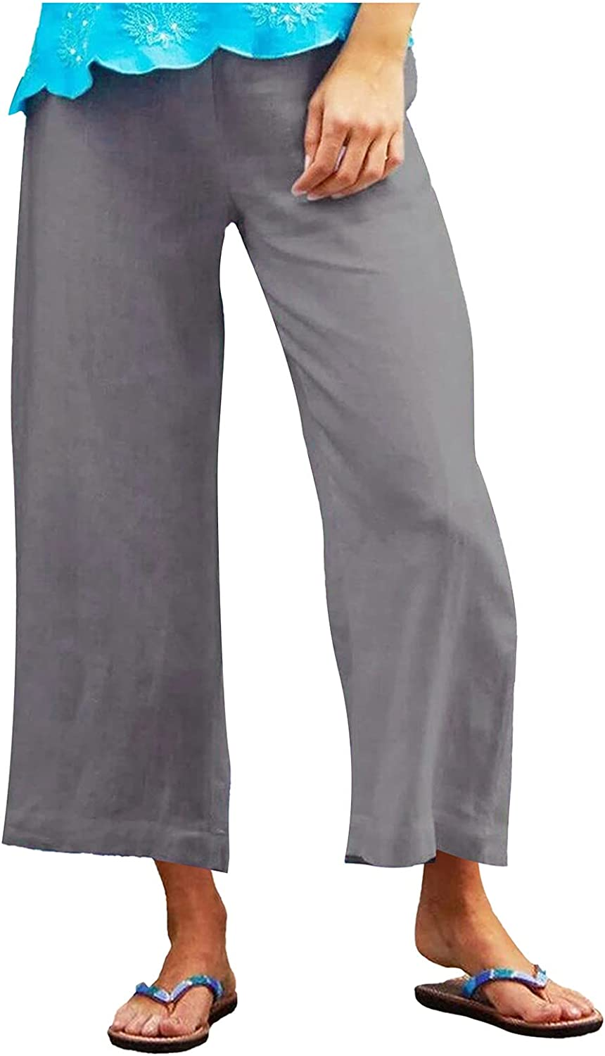 Misaky Women'S Straight-Leg Solid Color Cotton And Linen Loose Casual Wide-Leg Cropped Trousers