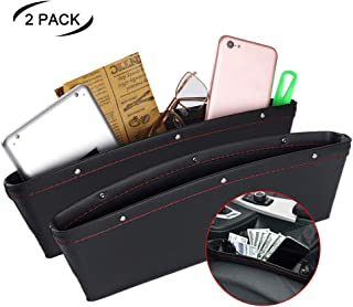 JYSW Car Gap Filler, 2 Pack Leather Car Seat Organizer Gap Pocket Car Seat Storage Box for Holding Phone, Sunglasses, Keys, Black