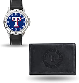 Rico Industries WTWAWA5001 MLB Texas Rangers Men's Watch and Wallet Set, Black, 7.5 x 4.25 x 2.75-Inch