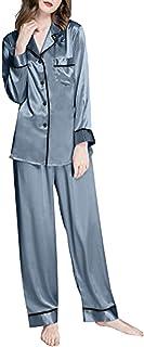 Riou Pigiama da Donna in Raso Due Pezzi, Donna Set Pigiama Maniche Lunghe in Seta Camicia da Notte Sleepwear Lungo per Tut...