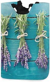 ZOMOY Grand Organiser Paniers pour Vêtements Stockage,Bouquets de Lavande fraîche sur des Planches en Bois Bleu Spa Relaxa...