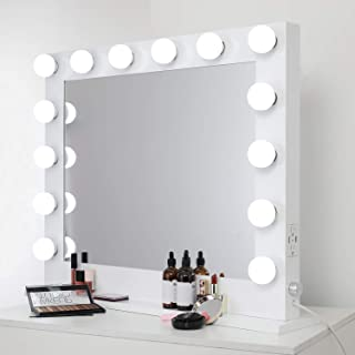 WAYKING Lighted Makeup Mirror, Hollywood Vanity Mirror with Lights, Tabletop or Wall Mounted Vanity Mirror with Dual USB Ports and Outlets, White(L33H26.3 inch)
