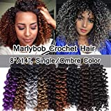 SEGO Marlibob Marlybob Crochet Braids Hair Extension 8 Inch Water Wave Crochet Braiding Hair Braids Kinky Curly Afro Jerry Curl Crochet Hair Weave for Black Women 3 Bundle #Natural Black