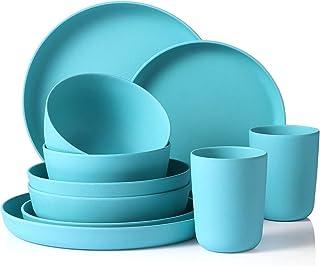 Juego de platos de bambú reutilizables MORGIANA de 10 piezas, juego de vajilla ecológico y biodegradable, juego de platos de camping livianos, juego de cena de picnic, servicio para 2 (azul)
