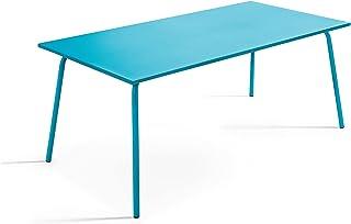 Oviala Table de Jardin Bleu Rectangulaire 180 x 90 x 72 cm Acier 8 Places Palavas