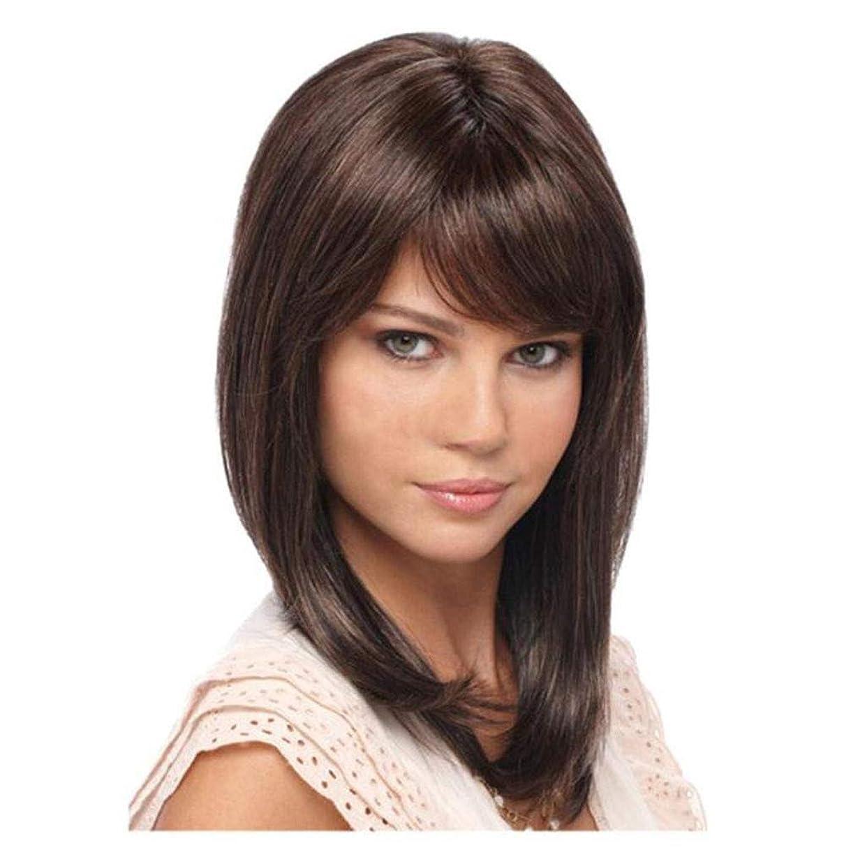 建築家クモモルヒネストレートボブヘアウィッグ用女性 Natrual 耐熱合成髪女性のかつらと髪前髪ブラジルバージン人間の髪