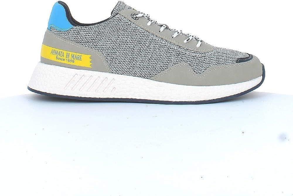 Armata di mare,  scarpe per uomo, sneakers basse, in pelle sintetica e tela, grigie AMU P2L021A