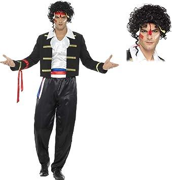 Mens New Romantic Adam Ant Wig Adult 80s Pop Star Fancy Dress Costume Accessory