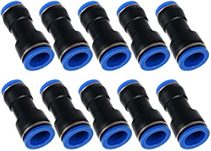 Metalwork Plastic Push to Connect Straight Union Pipe Tube Reducer Fitting, 10mm OD x 8mm OD, Reducing Coupler Straight Pneumatic Connector (Pack of 10)