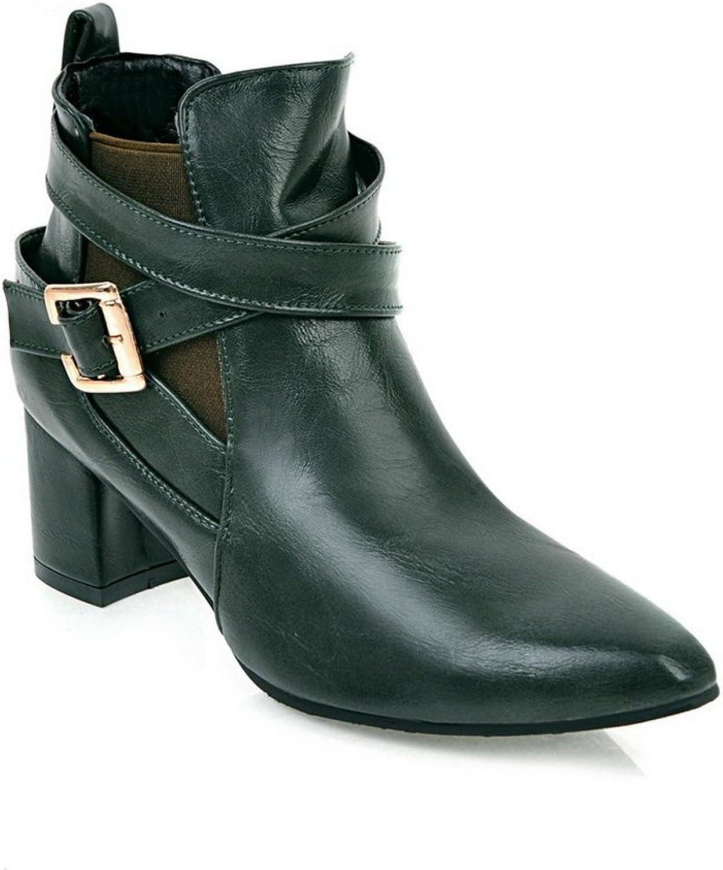 BalaMasa Womens Dress Metal Buckles Ankle-High Microfiber Boots ABL10473