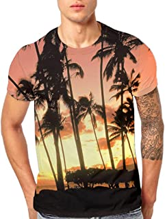 Sihand 3D Forest Pattern Printing Fashion Men's Short Sleeve T-Shirt Summer Slim Fit Tees Shirt Blouse Tops